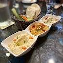 Trio dips and a chicken shawarma wrap!