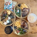 Rice bowl sets with your choice of drink and snack!