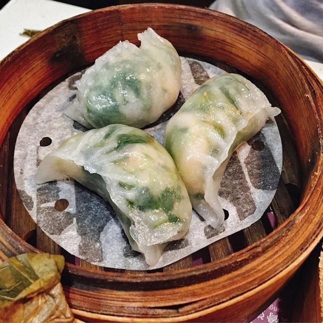 Shrimp Dumpling with Vegetable Shoots (HK$20)