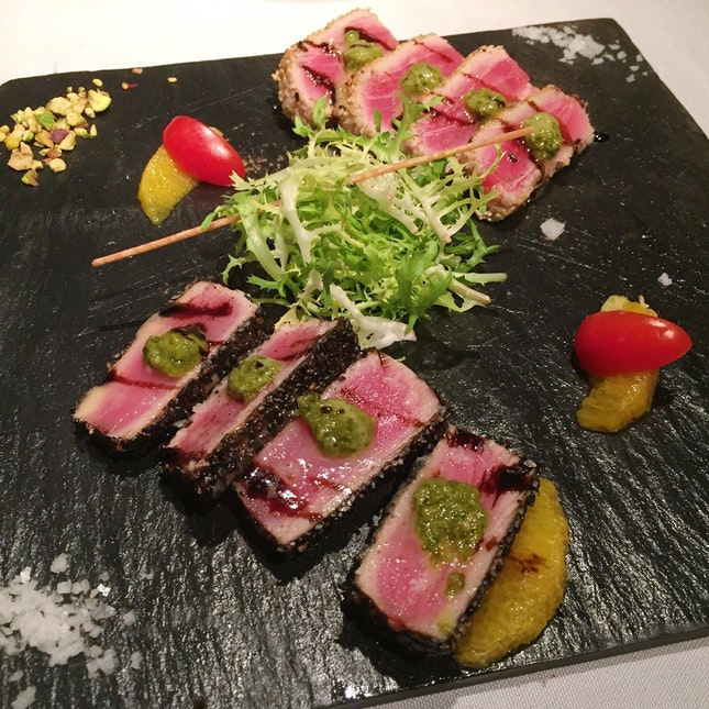 Sesame-crusted Tuna with Balsamic and Orange Sauce ($26++)