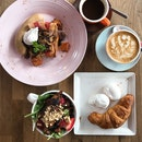 Big Brekkie ($8), Garden Green Salad Small ($4), 2 Poached Egg ($2) And Plain Croissant ($1.50)