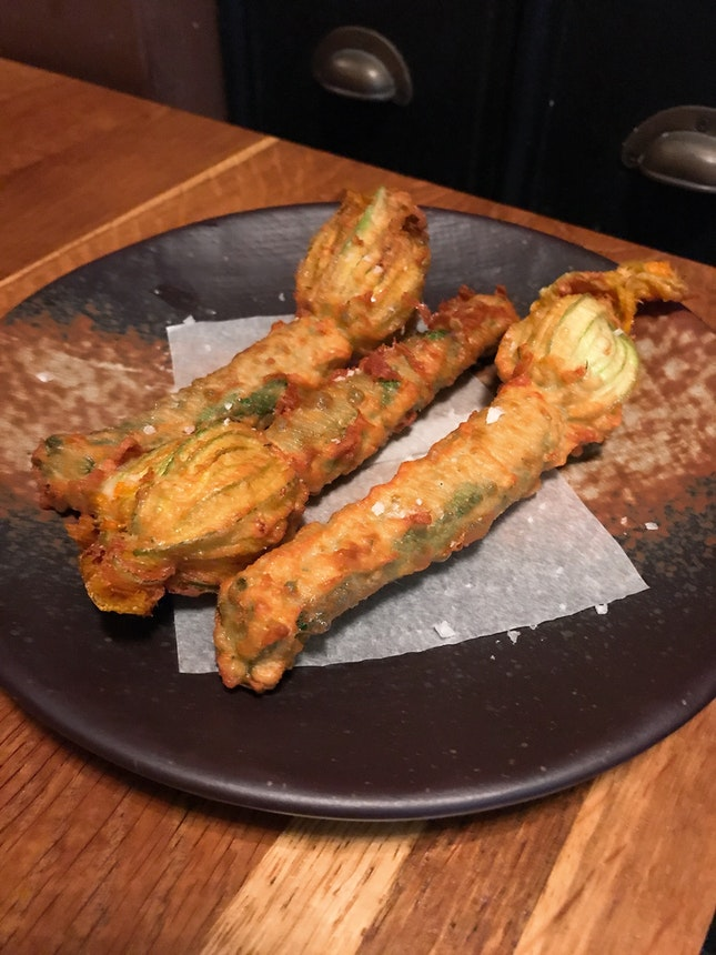 Off the menu: Flower Zucchini, deep fried with stuffed Di Bufala Cheese ($28.50 for 3 pieces)