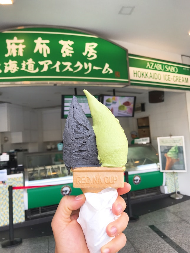 Black Sesame & Matcha Soft serve ($6.50)