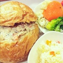 Chicken Pot Pie for the Queen, most healthy sides- Steamed vegetables, Butter rice