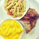 Quarter Roast Chicken with Pasta Salad and most unhealthy side- Macaroni and Cheese