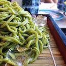 Harro Chasoba | #chasoba #green #noodles #japanese #food #foodpics #foodporn #sgig #instasg #cold #ice #plate