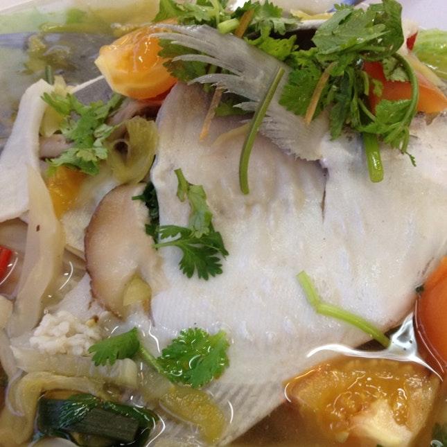 Steamed Pomfret (Teochew style)