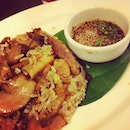 Fried rice with grilled pork and garlic pepper sauce served with clear soup #Bangkok #travel #gradtrip #thailand #dinner