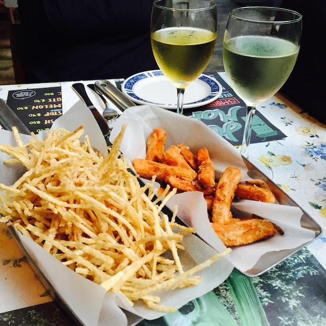 truffle taro fries, sweet potato nibblets, white wines