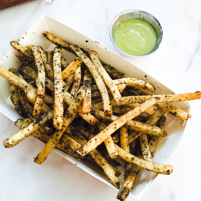 truffle seaweed fries with wasabi mayo