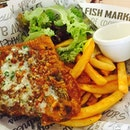 Department lunch today - Cod Fish and Chips at Manhattan Fish Market.