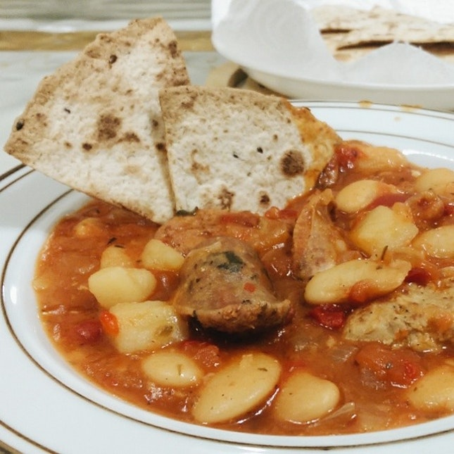 My idea and mummy execute it - sausage & bean stew!