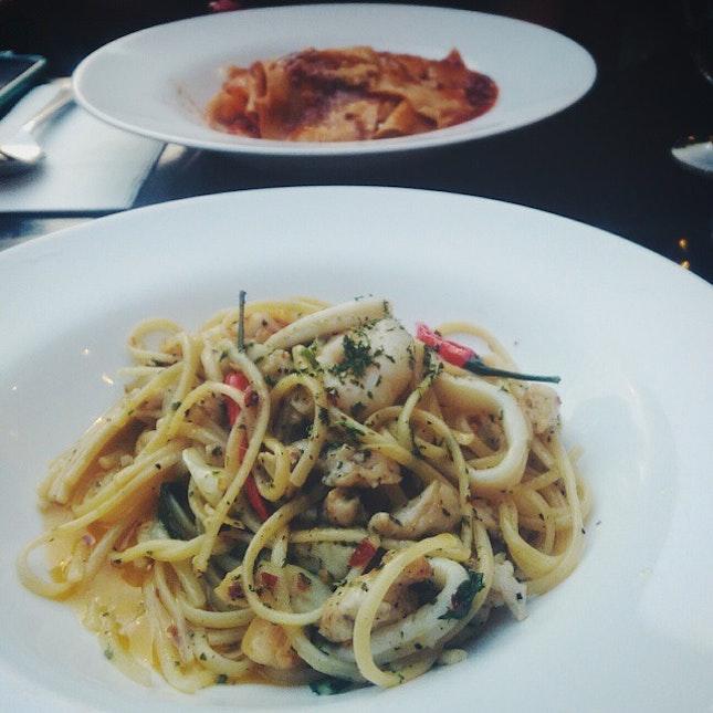 Always ordering the same pasta dish.