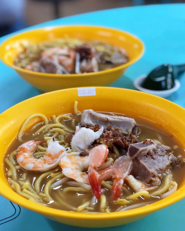 Pork Ribs Noodles with Prawns ($5)