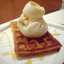 Waffle with Ice-cream and Maple Syrup ($8.30)