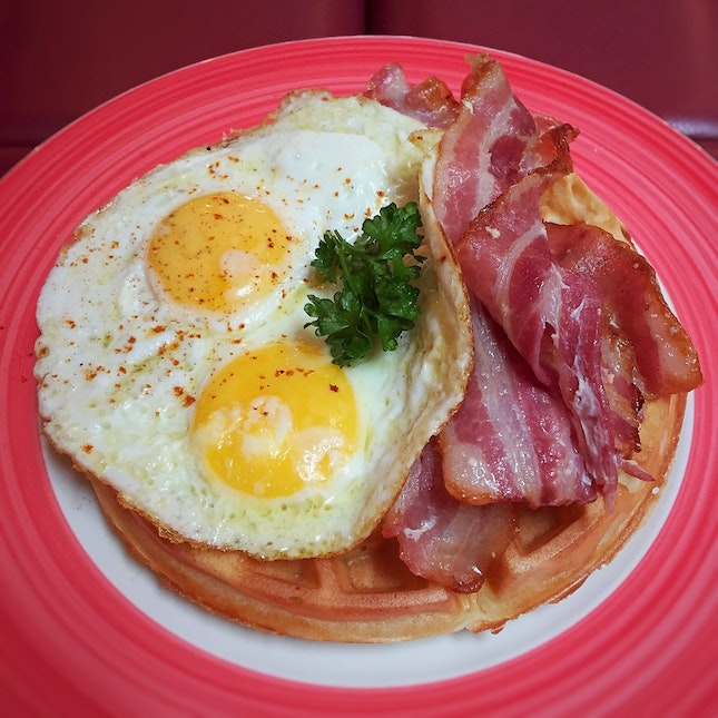 Waffle with Bacon & Eggs ($17++)