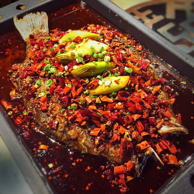 """Grilled Whole Fish In """"Unique Sauce"""" (ranges from $35++ to $42++ depending on type of fish)"""