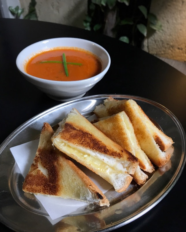 Grilled Cheese Sandwich with Bacon Tomato Soup ($11)