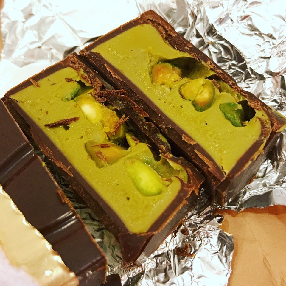 Wickedly Good French Dark Chocolate With Pistachio ($35 for a 160gm bar)