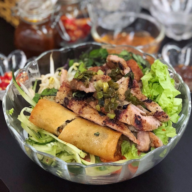 """Bun Thit Nuong"" or Rice Vermicelli with Grilled Pork, Minced Pork and Spring Roll ($9.50)"