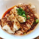 Very Tasty Dry Noodles with Taiwan Shrimp & Pork Dumplings in a Sour & Spicy Sauce