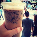 soy bean drink w/ grass jelly.