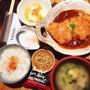 Yayoi's Miso Katsu Teishoku, pork loin cutlet w miso paste, with cold tofu, miso soup and cabbage pickles.