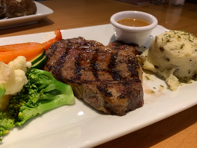 Ribeye Steak With Drink