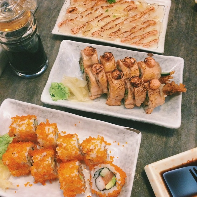 California Maki x Ebi Fry Salmon Aburi Roll x Scallop Mentaiyaki