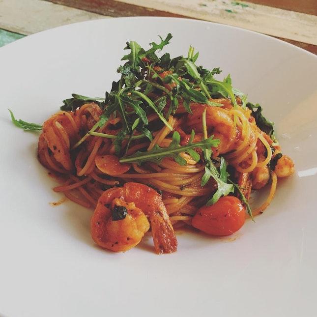 Spaghetti Con Gamberi ($18)