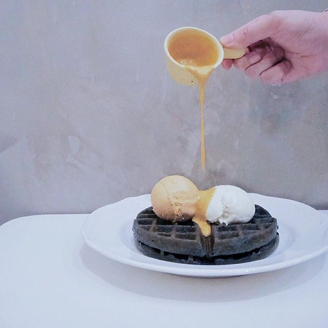 Charcoal Waffle with Homemade Salted Egg Sauce + Double Scoop •SGD 15•  I know we have to come down to give a try for this because I heard the SALTED EGG is calling us!