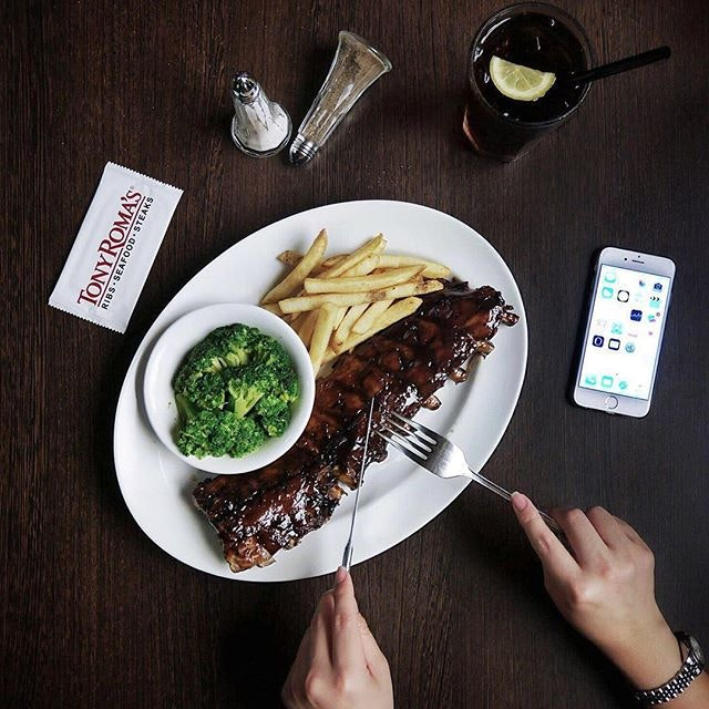 Coca-Cola Baby Back Ribs •SGD $26.90 / $35.90 / $41.90•  Old but gold  These Tony Roma's baby back ribs are super tender, generously basted with Coca-Cola BBQ sauce, served together with 2 sides of your choice.