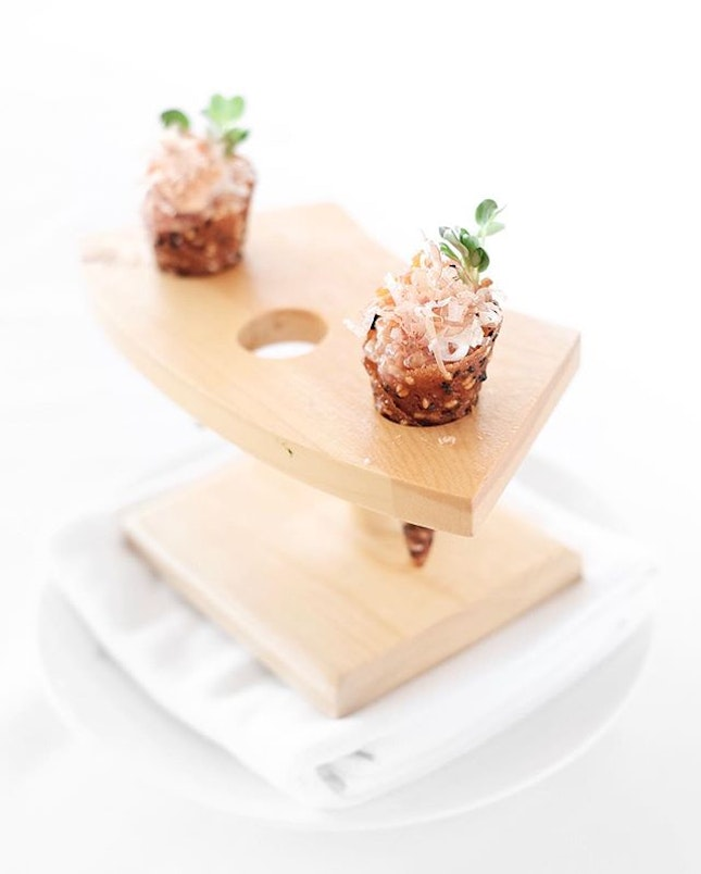 Big Eye Tuna Tartare Cones • There's no reason for me to say no to Spago's signature Big Eye Tuna Tartare Cones - featuring fresh tuna mixed with chili aioli, with Japanese touches of shaved bonito, briny masago and scallions, all assembled in delicate crispy sesame miso cones.