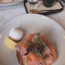 Smoked salmon & Hash ($24.50), Eggs Royale ($24.50)