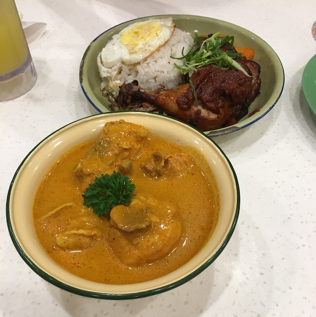 curry chicken (with loaf) and nasi lemak with sambal chicken drum