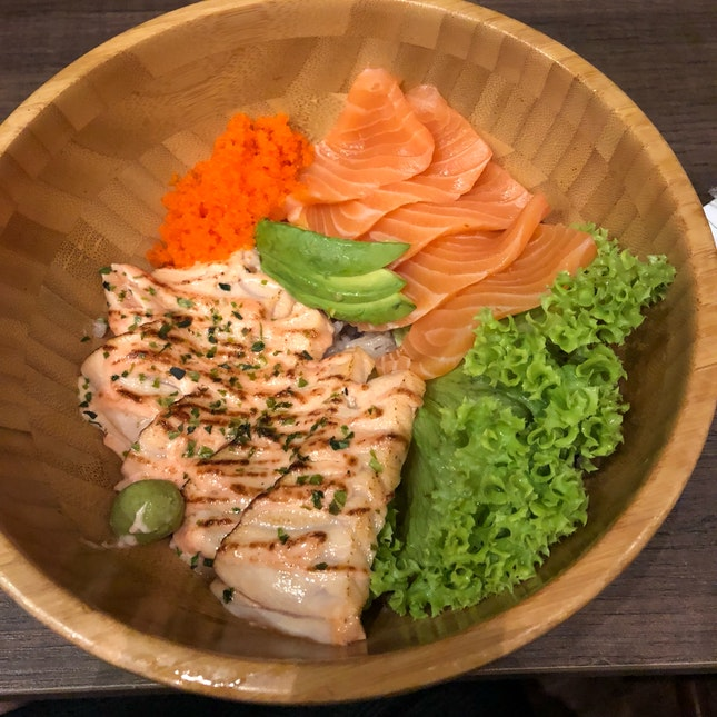 salmon rice bowl