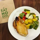 """Roasted chicken breast with """"grilled vegetable salad"""" that is neither grilled nor vegetable BECAUSE THEY ARE ALL FRUITS with peppers (got seed), cucumber (got seed), brinjal (got seed)."""