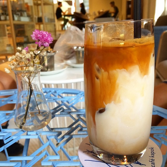 After a long walk, rest for an Iced Latte.