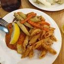 John Dory + Marinara Mushroom Penne + Carrots and Baby Corn ($11.90)