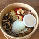 DIY Bowl (Cuban Pork Shoulder, Korean Soy Konjac Noodles, Buckwheat Noodles, Onsen Egg, Cauliflower & Corn, Tom Yam Hummus, Grilled Mushrooms, Blistered Cherry Tomatoes) ($12)