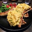 Sausage, Scrambled Egg And Waffles
