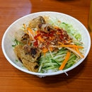 Vietnamese Dry Bun Noodles With Spring Rolls