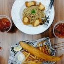 Cheese Karage Pasta and Original Fish & Chips