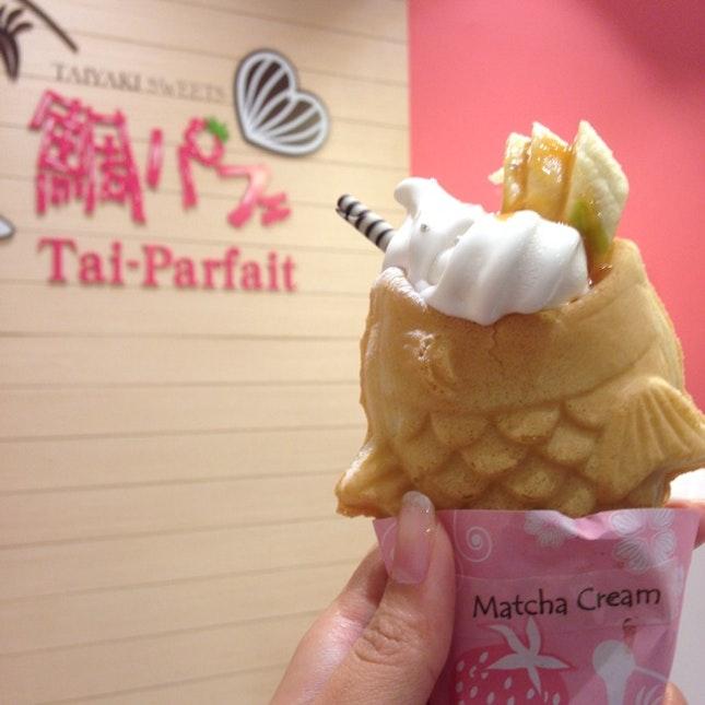Matcha Taiyaki With Soft Serve/ Banana Caramel ($5.20)