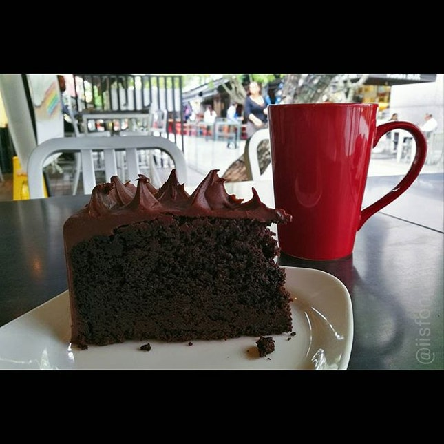 Chocolate cake craving satisfied by the Dark Obsession Chocolate by Dean & Deluca.