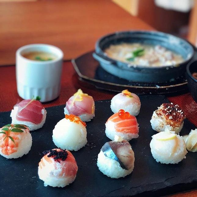 Satisfying my sushi cravings with these balls of cuties @sunwithmoonsg | Temari Sushi set | .