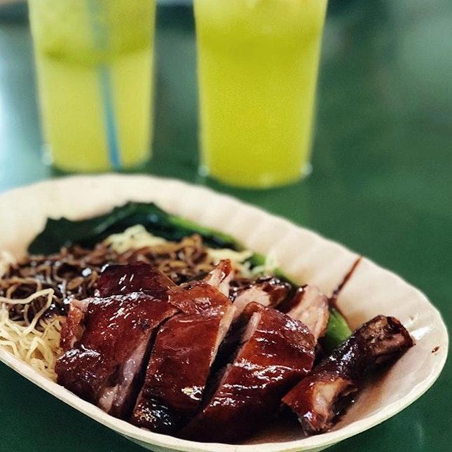 Juicy Roast Duck Leg noodles .