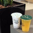 Taro Milk and Orange Green Tea from @milksha_sg .