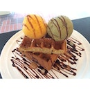 Needing this Waffles with Mango Sorbet and Pistachio Crunch to beat the heat!