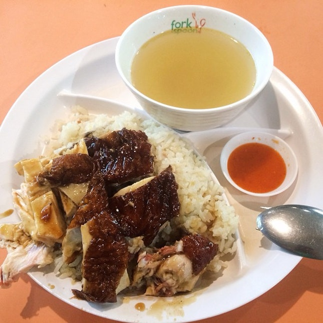 Yesterday's dinner was Chicken Rice from Sin Heng Kee Hainanese Chicken Rice .